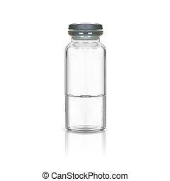 medizin, gummi, abbildung, flasche, verhöhnen, graue , weißes, auf, hintergrund., vektor, glas, freigestellt, cap.