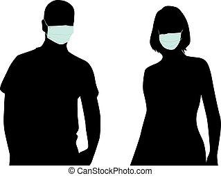 medizin, leute, silhouette, mask.