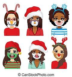medizin, maske, weihnachten, komiker, gesicht