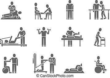 medizin, silhouette, vektor, leute, schwarz, physische therapie, heiligenbilder, behandlung, rehabilitation
