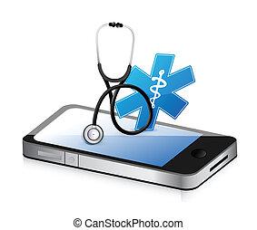 medizin, stethoskop, app