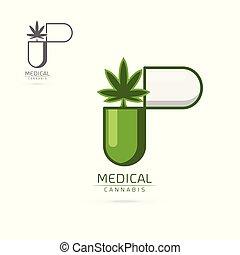 medizin, vektor, schablone, logo, cannabis, etikett, satz, embleme
