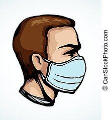 medizin, vektor, zeichnung, maske, profile., mann