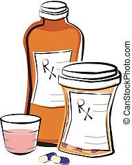 Medizinflaschen verschreiben.