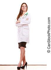 Medizinische Ärztin mit Stethoskop. Gesundheitsversorgung