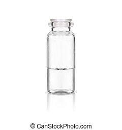 medizinische abbildung, flasche, verhöhnen, plastik, weißes, auf, hintergrund., vektor, glas, freigestellt, stopper.
