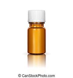 medizinische abbildung, flasche, verhöhnen, weißes, auf, hintergrund., vektor, glas, freigestellt, cap., brauner