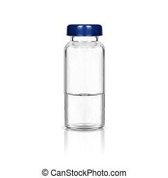 medizinische abbildung, flasche, verhöhnen, weißes, auf, medizinprodukt, hintergrund., vektor, glas, blaues, freigestellt, cap.