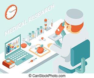 Medizinische Forschung 3D isometrische Konzept