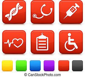 Medizinische Ikonen auf Quadrat-Internet-Knöpfen