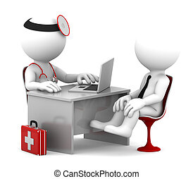 Medizinische Konsultation. Doktor und Patient reden im Büro