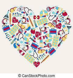 Medizinische und gesundheitliche Ikonen in Form von Herz.