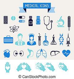 Medizinische und Gesundheitsschutz-Ikonen eingestellt.
