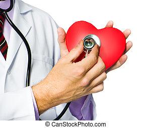 Medizinischer Arzt mit rotem Herz