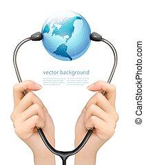 Medizinischer Hintergrund mit Händen, die ein Stethoskop mit Globus halten. Vector.