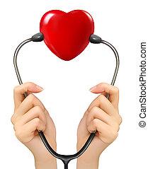 Medizinischer Hintergrund mit Händen mit einem Stethoskop mit roter Hea