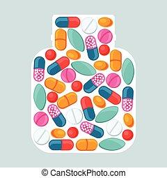 Medizinischer Hintergrund mit Pillen und Kapseln in Flaschenform.