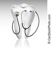 Medizinischer Hintergrund mit Zahn und Stethoskop. Konzept der Diagnose. Vector