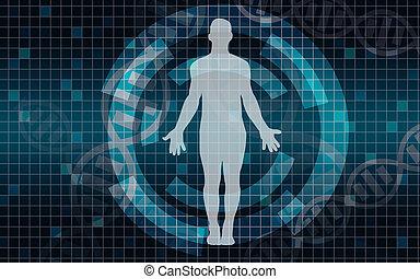 Medizinischer Scan auf blauem Hintergrund.