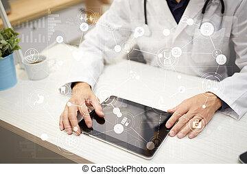 Medizinisches Konzept auf virtuellem Bildschirm. Gesundheitsversorgung. Online medizinische Beratung und Gesundheitscheck, EMR, EHR.