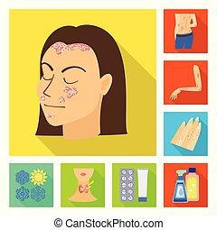 medizinisches symbol, vektor, dermatologie, design, krankheit, satz, logo., web., bestand