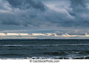 meer, wetter, baltisch, stürmisch, sandstrand, winter