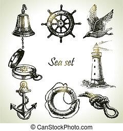 Meeres Set von nautischen Konstruktionselementen. Handmalige Illustrationen