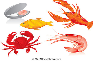 Meeresfrüchte: Austern, Garnelen, Krebs, Krebs und Fisch
