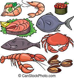 Meeresfrüchte-Ikonen bereit