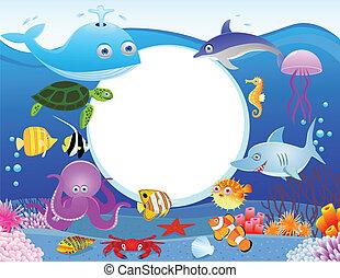 Meeresleben mit leerem Zeichen