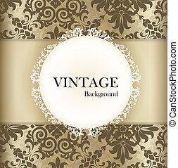 Meeresloses Retromuster mit Vintage-Label. Vektor Illustration.