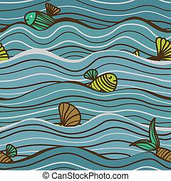 Meeresmuster mit Fisch