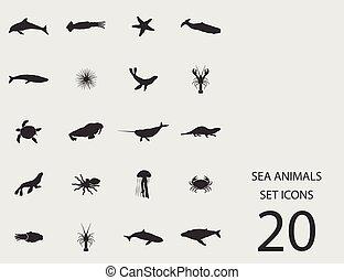Meerestiere mit flachen Ikonen. Vector Illustration