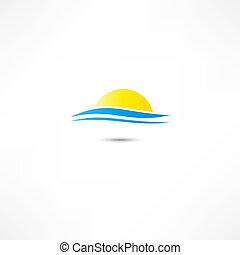 Meereswellen und aufgehende Sonnenvektor Illustration