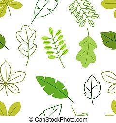 Meerlose Blumenmuster mit stilisierten grünen Blättern. Frühling oder Sommerfaliage