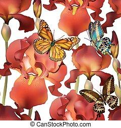 Meerlose Irisblüten mit Schmetterlingen. Vector, EPS 10