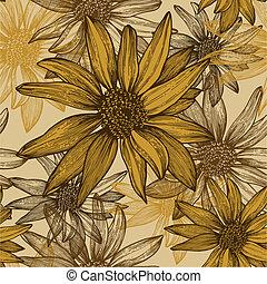 Meerlose Tapete mit Blumen, Sonnenblumenkerne, Handabziehen. Vektor Illustration.