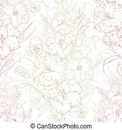 Meerloses Muster, wunderschöne frische Iris-Blumen.