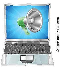 Megaphon-Icon-Laptop-Konzept