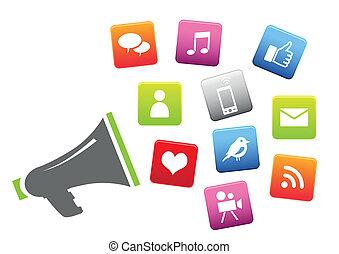 Megaphon mit sozialen Medien-Ikonen