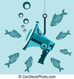 Megaphon unter Wasser am Haken mit dem Fisch. Die Schließung der Medien. Zensur. Das Informationsverbot. Sei still wie ein Fisch.