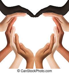Mehrere menschliche Hände bilden eine Herzform auf weißem Hintergrund mit einem Kopierraum in der Mitte