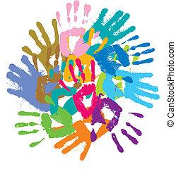 Mehrfarbige Abdrücke von Händen