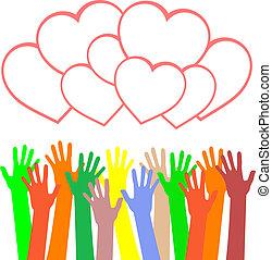 Mehrfarbige Hände halten das Herz. Seid gegrüßt