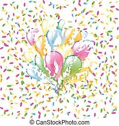 Mehrfarbige Hochglanzballons auf einem bunten Konfetti Hintergrund.