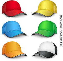 Mehrfarbige Kappen.