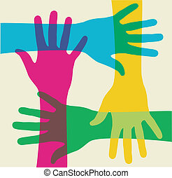 Mehrfarbige Teamwork-Hände