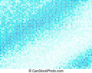Mehrfarbiger abstrakter, blauer Fliesen Hintergrund. Quadrater Pixel Mosaikvektor