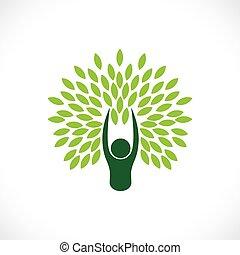 Mensch als Baum eins mit Natur - Öko Lifestyle Konzept Vektor.