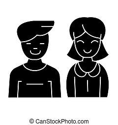 Mensch und Frau - Ikone, Vektorgrafik, schwarzes Zeichen auf isoliertem Hintergrund.
